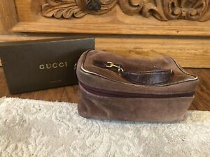 Authentic GUCCI Vintage Brown Suede Leather Cosmetic Makeup Case Bag-$1800
