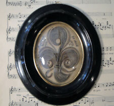 Antique French Mourning Hair Art Domed Glass Oval Wooden Frame c1879