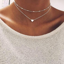 Double Layer Heart Necklace Chain Hot Multilayer Choker Pendant Gold Silver UK