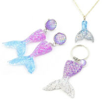 10 Pcs Mixed Tiny Mermaid Glitter Fish Tail Charm W/out Hook Resin Flatback DIY