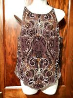 VINTAGE HEAVILY BEADED EVENING BLOUSE brown black embellished 80s tank top XL 2B