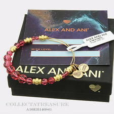 Authentic Alex and Ani Rouge Beaded Swarovski Crystal Shiny Gold Bangle