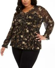 Style & Co Plus Size Floral Print V-neck Blouse Womens 0x Black Ruffled Mesh Top
