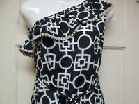Black and White One-Shoulder Dress by Mud Pie, Size Medium (8-10), NWT