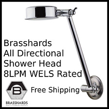 "All Directional Shower Rose Head With Arm WELS 8LPM Rated Chrome Plated 1/2"" BSP"
