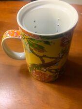 WORLD MARKET TEA CUP BEAUTIFUL ASIAN INSPIRED YELLOW FLORAL BIRD DESIGN INFUSER