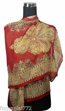 Elegant Oblong Fashion Scarf Wrap Chiffon w Stunning Paisleyl Pattern, Burgundy