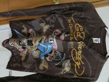 Men's ED HARDY by Christian Audigier Death or Glory henley shirt w/sequins small