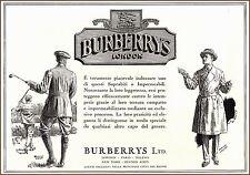 PUBBLICITA' 1930 IMPERMEABILI SOPRABITI BURBERRY LONDON GOLF MODA STYLE SPORT