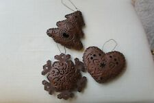 SET OF 3 RUSTIC COUNTRY CHRISTMAS ORNAMENTS TREE HEART SNOWFLAKE DECORATIONS