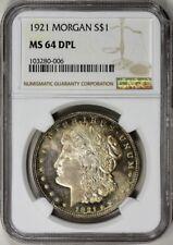 1921 MORGAN SILVER DOLLAR $1 NGC MS64 DPL DMPL DEEP MIRROR, PG = $8,500!