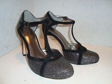 Antonio Melani Womens Astrid NWOB Blk Glitter Sandals Shoes 6 Medium NEW