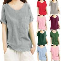 Women Fashion Solid  Brief Short Sleeve Pocket Summer Tank Top Blouse Tee