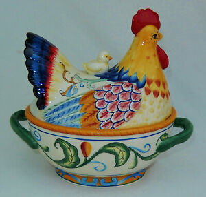 """Fitz & Floyd Ricamo Covered Vegetable Hen with Chick 11""""x 10""""  Unused Condition!"""
