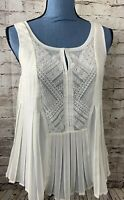HD in Paris Womens Tank Top Blouse Pleated Sleeveless Lace Ivory 6 Sheer