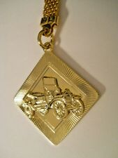 VINTAGE FORD MODEL T TOURING CAR Gold Stainless Steel Mesh Key Chain Medallion