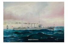 HMAS SYDNEY Australian Warship c 1914-16 Art Borstel modern digital Postcard
