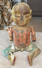 1900's ANTIQUE HAND CRAFTED & PAINTED TRIBAL MAN SITTING FIGURE / STATUE