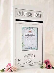 Personalised Royal Mail Wedding Card Post Box - Lockable / Locking Postbox