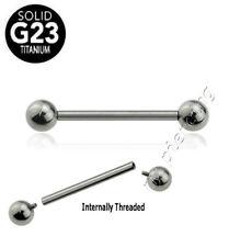"G23 Titanium Internally Threaded Tongue & Nipple Ring Barbell 14G 9/16"" to 7/8"""