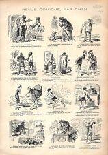Costumes de Bains Militaires Baignoire de Théâtre Dessin de Cham GRAVURE 1876