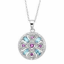 5 ct Natural Amethyst & Blue Topaz Medallion Pendant with Diamond in Silver