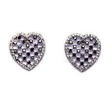 Screw Back (pierced) Heart Mixed Metals Costume Earrings