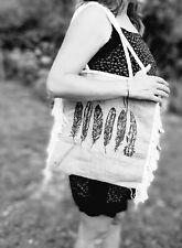 Cabas panier Sac à main Toile de jute Ethnique Vintage sac de plage plume