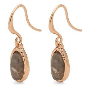Pilgrim Jewellery Rose Gold Plated Earrings Agate Gemstone Gift for her in bag