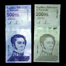 2 Venezuela banknotes- 1 x 200000 (200,000) & 500000 (500,000) Bolivares-UNC