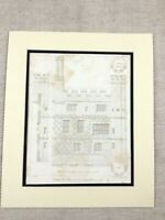 1826 Engraving Print Hampton Court Palace Inner Court Architectural Drawing