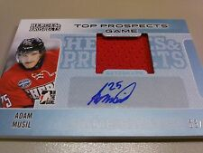 Adam Musil 2014-15 ITG Heroes & Prospects Top Prospects Game Swatch Auto /10