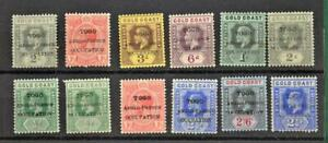 TOGO GOLD COAST STAMPS ON  STOCK CARD  H/M  (Z130)
