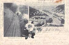 Seltene alte S/W 2- Foto AK 1899: Gruss von Ems@ Malbergbahn + Waggon + Panorama