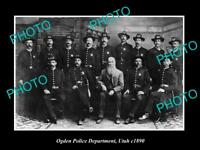OLD LARGE HISTORIC PHOTO OF OGDEN UTAH THE POLICE DEPARTMENT c1890
