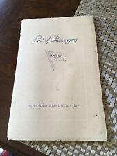 S.S. Statendam List Of Passengers, New York To Rotterdam, June 24, 1938