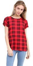 New Ladies Rolled Short Sleeves Red Tartan Wet Look Tee Shirt Top Trendy Stylish