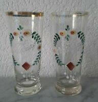 2 Occhiali Tinkgläser Bicchieri Birra Per Fidanzamento Stile Liberty Circa 1900