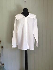 Laura Ashley Vintage Linen Mix Blouse Cottagecore Design Boho SZ 16 In White