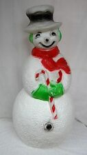 """40"""" Union Snowman Red Scarf Lighted Christmas Blow Mold Outdoor Yard Decor"""