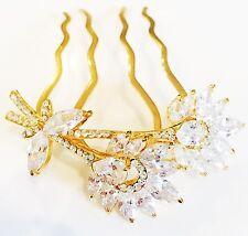 HAIR COMB use Swarovski Crystal Wedding Bridal Dancer Party French Twist Gold P3