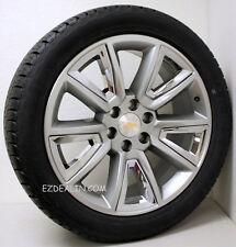 "22"" Chevy Silverado Tahoe Suburban Z71 Hyper Silver and Chrome Wheels Rims Tires"