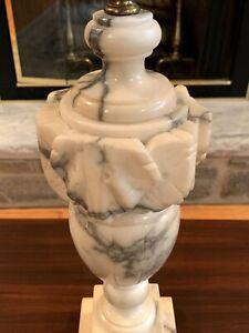 VTG Italian Alabaster Marble Neoclassical Ornate Urn Style Lamp 3-way lighting
