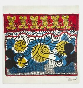 COACH X HARING DISNEY MICKEY MOUSE OVERSIZED SQUARE SCARF:NWT 6144 LTD.ED.