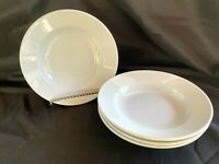 """WILLIAMS SONOMA White Everyday Dinnerware Set of 4 Rimmed Soup Pasta Bowls 9"""""""