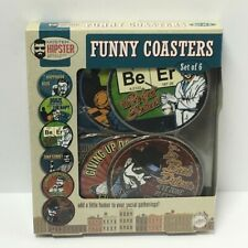 New listing Set Of 6 Mister Hipster Funny Coasters, Free Shipping