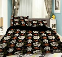 3D Vintage White Floral Leaf Quilt Cover Sets Pillowcases Duvet Comforter Cover