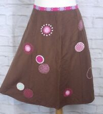 Joules Brown Pink Floral Embroidered Linen Blend Skirt Size UK 14