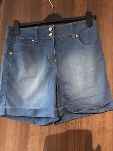 Ladies High Wasited Denim Shorts Size 12- Next