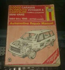 Haynes Repair Manual  Dodge Caravan  Chrysler Voyager  Town & Country 84 to 95